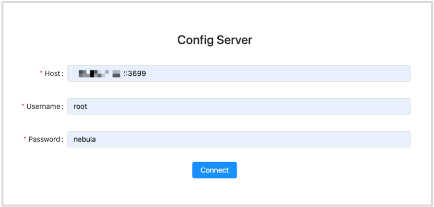 The Config Server page shows the fields to be configured for connection